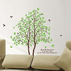Awesome DIY Large Green Tree Vinyl Wall Stickers Home Decor Living Room Bedroom Wallpaper Family Tree Wall Decal - Buy it Now! Large Wall Stickers, Wall Stickers Window, Removable Vinyl Wall Decals, Bird Wall Decals, Family Tree Wall Decal, Wall Stickers Home Decor, Vinyl Wall Art, 3d Wall, Tree Decals