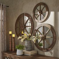 Moravia Round Reclaimed Wood Wagon Wheel Wall Mirror by Signal Hills Diameter), Brown wood furniture living room decorating ideas Country Decor, Rustic Decor, Farmhouse Decor, Farmhouse Style, Rustic Entryway, Old Western Decor, Country Life, French Country, Modern Decor