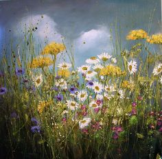 'Bright skies and butterflies' by Marie Mills - oil on linen 100x100cm £1450 www.lyndhurstgallery.co.uk