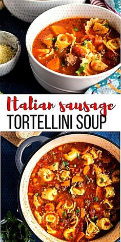 Sausage Tortellini Soup [step by step VIDEO] – The Recipe Rebel This Sausage Tortellini Soup is a tomato-based soup loaded with vegetables, Italian sausage and cheese tortellini. It's the perfect cold weather soup and freezer friendly! Italian Sausage Tortellini Soup, Crock Pot Tortellini, Cheese Tortellini Soup, Italian Sausage Recipes, Italian Sausages, Soup With Italian Sausage, Pasta Cheese, Cheese Soup, Soups