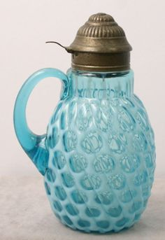 VICTORIAN BUCKEYE GLASS CO. BLUE  OPALESCENT BIG WINDOWS SYRUP PITCHER