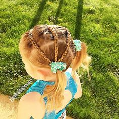 """3 lace Dutch braids going into one pigtail #gymnasticshair#gymhair #leotard"""