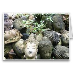 Heads I :- There were many fist sized heads of Buddha lying around in the corner of the stone garden in Chiang Mai. I was intrigued to see that each one had it's own personality or look to it even though there is a generic feel about them all. #chiangmai #thailand #thai #oriental #southeastasia #statue #old #overgrown #pottery #clay #craft #arts #weathered #buddha #buddhism #faith #religion #peace #tranquility #kharma #enlightenment #head #heads #stone