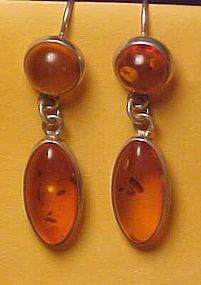 Fascinating Sterling Silver Amber Earrings