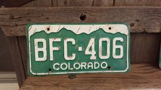 Colorado License Plate Number BFC-406    #RockyMountains #VintageColorado #Bfc406 #VintageColoPlate #LicensePlate #ColoradoPlate #CoLicensePlate #GreenAndWhite #CoLicense #VintageCoPlate