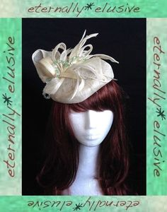 JOHN LEWIS Cream Hatinator Hat Fascinator Percher Green Bead Wedding Guest Races
