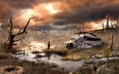 Russian artist Vladimir Manyuhin has imagined what the world would look like after an apocalypse by building upon real-life photos. Post Apocalypse, End Of The World, Post Apocalyptic Art, Matte Painting, Cthulhu, Photo Manipulation, Cyberpunk, Fantasy Art, Concept Art