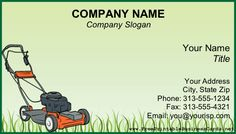 A Lawnmower Sits On Uncut Gr This Green Background Printable Business Card Lawn Care