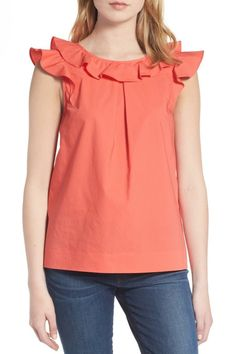 Crew Women's Ruffle Cotton Poplin Top Blouse in Coral Petite Size for sale online Blouse Styles, Blouse Designs, Birthday Girl Dress, Western Tops, Frill Tops, Looks Plus Size, Girl Fashion, Fashion Outfits, Petite Tops