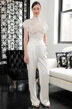 The Spring/Summer 2018 Bridal Fashion Week channeled Bianca Jagger circa 1970 with white jumpsuits making their big comeback. Wedding Suits For Bride, New Wedding Dresses, Designer Wedding Dresses, Bridal Dresses, Womens Wedding Suits, Wedding Attire For Women, Bridal Pants, Wedding Jumpsuit, Classic Wedding Dress