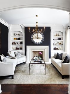 I love the idea for the fireplace chimney being navy and the rest white