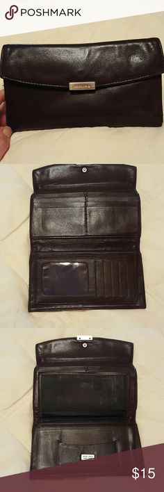 Perlina wallet Brown leather, very clean. Lightly used. EUC perlina  Bags Wallets