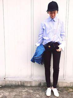 TOMOKAさんのシャツ・ブラウス「KORMARCH ストレッチストライプシャツ」を使ったコーディネート