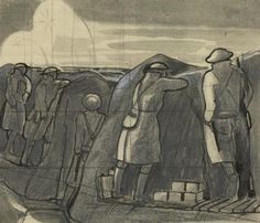 Stand To Before Dawn, c.1918, by John Nash.; The British war artist John Nash served with the Artists Rifles on the Western Front. This drawing depicts men at stand to, one of the key events in the daily routine of the front line. Infantry manned the front line in anticipation of a possible enemy attack or raid. Whilst this was a routine associated with the possibility of such activity in the murky light conditions of dawn and dusk, it also became one of discipline and alertness.