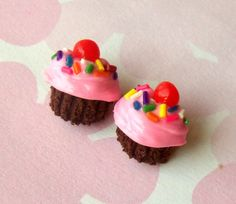 chocolate cupcake post earrings polymer clay by ScrumptiousDoodle