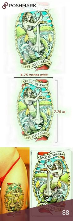 """New gold tone scissor stud earrings. Price is firm Temporary tattoo featuring a mermaid on an anchor with """"Peace by the Sea Where I Feel Free."""" Waterproof and sweatproof, lasts 3 to 5 days. Dimensions: 7.75 inches high x 4.75 inches wide Other"""