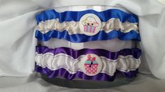 Garters in silky blue and ivory or royal purple and white, cupcake collection by HemHouse on Etsy