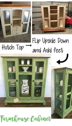 Old Entertainment Cabinet Top Flipped Upside Down and Repurposed - Christina Faye Repurposed Think an old entertainment center/hutch top can't be used without its base? I repurposed this piece of junk into a beautiful farmhouse cabinet. Diy Furniture Redo, Green Furniture, Diy Furniture Projects, Refurbished Furniture, Plywood Furniture, Repurposed Furniture, Rustic Furniture, Home Furniture, Antique Furniture