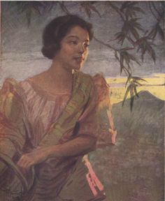 Bicol Girl, pastel, by Fernando Amorsolo.  The Bicols occupy a relatively continuous, area covering Camarines Sur, Albay, and Sorsogon in southern Luzon, a part of Masbate, and the smaller islands of Catanduanes, Burias, and Tikao.