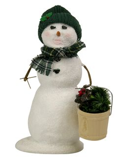 Byers' Choice Snowman with Bucket of Greens Inv # 2988