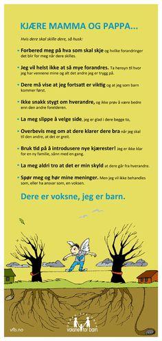 Plakat: Skilsmisse kjære mamma og pappa Social Work, Kids And Parenting, Meditation, Humor, Words, School, Communication, Poster, Photo Illustration