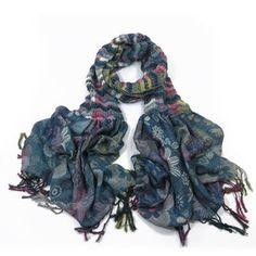 ladies scarf Blue Ruby design scarves shawls wrap neck soft fashion Floral