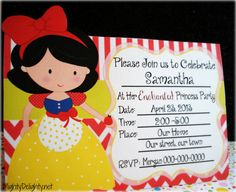 Mighty Delighty: Snow White Princess Party Pack. You can add in the party details yourself using Adobe reader (free)
