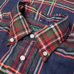 Buy the Gitman Vintage Button Down Fluorescent Linen Madras Shirt in Navy & Red from leading mens fashion retailer END. - only Fast shipping on all latest Gitman Vintage products Man Fashion, Fashion Outfits, Madras Shirt, Ivy Style, Red Stripes, Mens Clothing Styles, Button Downs, Color Pop, Ties