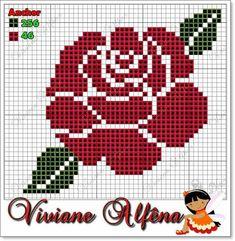 Rose x-stitch pattern Cross Stitch Cards, Cross Stitch Rose, Cross Stitch Flowers, Cross Stitching, Cross Stitch Embroidery, Modern Cross Stitch Patterns, Tapestry Crochet, Knitting Charts, Plastic Canvas Patterns