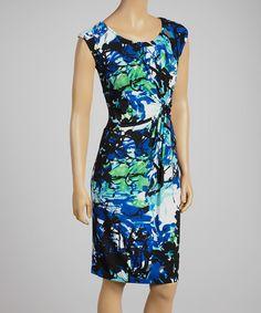 Look at this #zulilyfind! Blue & Green Twist Sheath Dress by Aziza #zulilyfinds
