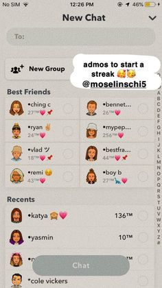Snapchat Names List, Snapchat Friend Emojis, Snap Snapchat, Snapchat Streak, Snap Friends, Friends List, Iphone Texts, Iphone 7, Snapchat Story Questions
