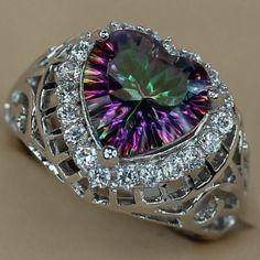 Rainbow Fire Mystic Topaz Silver ring 3a329 #8