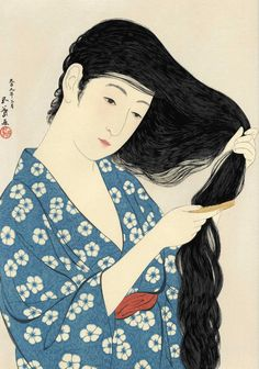 undoing the tangles of life .... Japanese aesthetic and grace prevalent in non emotive impactful and sometimes stoic acts..we have much to learn from this beauty-filled culture.    Hashiguchi Goyo