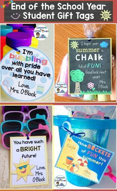 Easily create memorable & personalized end of the school year or graduation gifts for your students. Simply print and attach to inexpensive trinkets such as bubbles, sidewalk chalk, candy, balls, glow sticks, snacks, play dough, sunglasses, etc. Includes 23 different designs so you can use them for multiple classes or from year to year. https://www.teacherspayteachers.com/Product/End-of-the-School-Year-Graduation-Student-Gift-Tags-Set-of-23-3086390