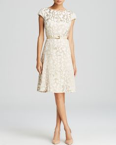 Shower Dress? Anne Klein Dress - Cap Sleeve Jacquard Belted Swing | Bloomingdale's