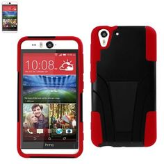 Reiko Silicon Case+Protector Cover For HTC Desire Eye Red Black New Type Kickstand