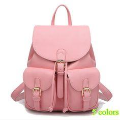 Купить товар2016 новых мужчин кожаные рюкзаки Bolsas Mochila Feminina большой школьный сумка твердые конфеты цвет черный розовый бежевый в категории Рюкзакина AliExpress.                    Добро пожаловать в наш магазин                            2016 NEW Women Daily Backpacks Daypack Girl