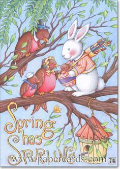 Spring Has Sprung Easter Card by Mary Engelbreit for Recycled Paper Greetings. Mary Engelbreit, Easter Parade, Happy Spring, Spring Is Here, Spring Has Sprung, Vintage Easter, Illustrations, Cute Art, Bunny