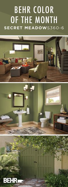 New living room paint color ideas olive shades ideas Behr Paint Colors, Green Paint Colors, Room Paint Colors, Paint Colors For Living Room, Paint Colors For Home, Bathroom Colors, House Colors, Wall Colors, Bathroom Ideas
