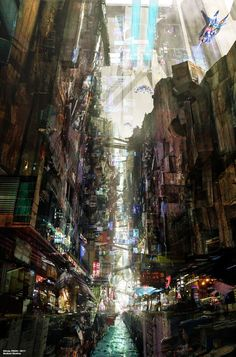 Cyberpunk: Sunny Side Up Cyberpunk City, Ville Cyberpunk, Arte Cyberpunk, Futuristic City, Concept Art World, Environment Concept Art, Environment Design, Yuumei Art, Illustration Photo