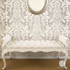 Painting Accent Wall with Classic Victorian Wallpaper Look - Lisabetta Damask Wall Stencils - Royal Design Studio