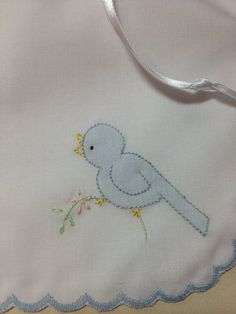 Embroidered Girl Baby Bib ~