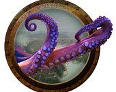 Steampunk Octopus Porthole Wall Decal