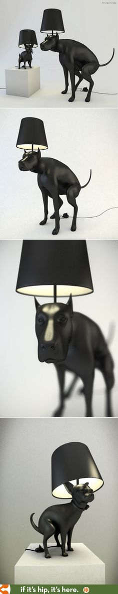 Pooping dog lamps! A Great Dane Floor Lamp and a Chihuahua Table Lamp turn on and off by pressing on their turds.