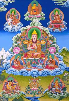 Beautiful Tangkha of Lam Tsongkhapa, the founder of the Gelug school of Tibetan Buddhism, who is considered to be an Enlightened Buddha. Gelug.