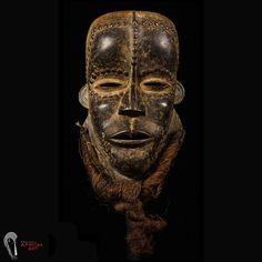 African Tribal Sculpture: Exquisite Original Bete Mask W/ Custom Stand