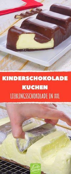 Dieser XXL Schokokuchen ist der Hingucker auf jedem Kuchenbuffet. Woran erinnert er dich? #kinderschokolade #kuchen #rezept #rezepte