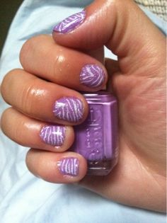 """white zebra print with a base of Essie-""""play Date"""" and topped with China Glaze-""""Fairy Dust"""""""