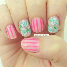 @mojospa #neon pink and #turquoise #flower striped #nails (Mojo Spa) 's Instagram photos | Webstagram - the best Instagram viewer