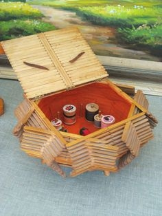 Vintage Popsicle Stick Sewing Basket  HBC by HilBilEEcouture, $42.00